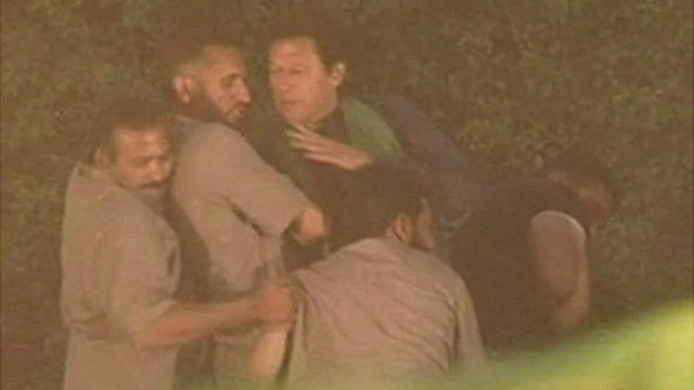 Imran Khan Falls From Lift (stage) During Campaign