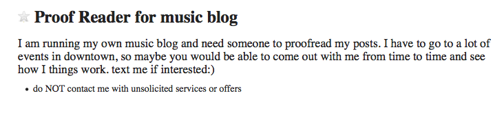 Proof Reader for Music Blog / Craigslist 4-20-2014 by BeckyCharms