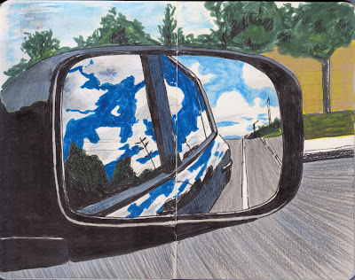 View from the side-view mirror - Watercolour, Ink, and Inktense pencils by Ana Tirolese ©2012