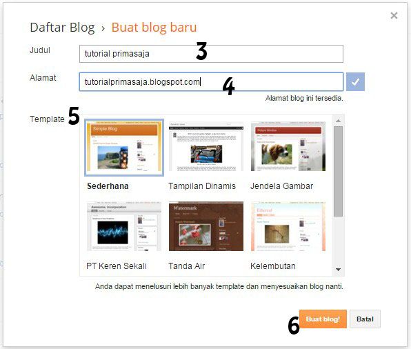 Tutorial Cara Membuat Blog Di Blogger Dengan Gambar 1.2
