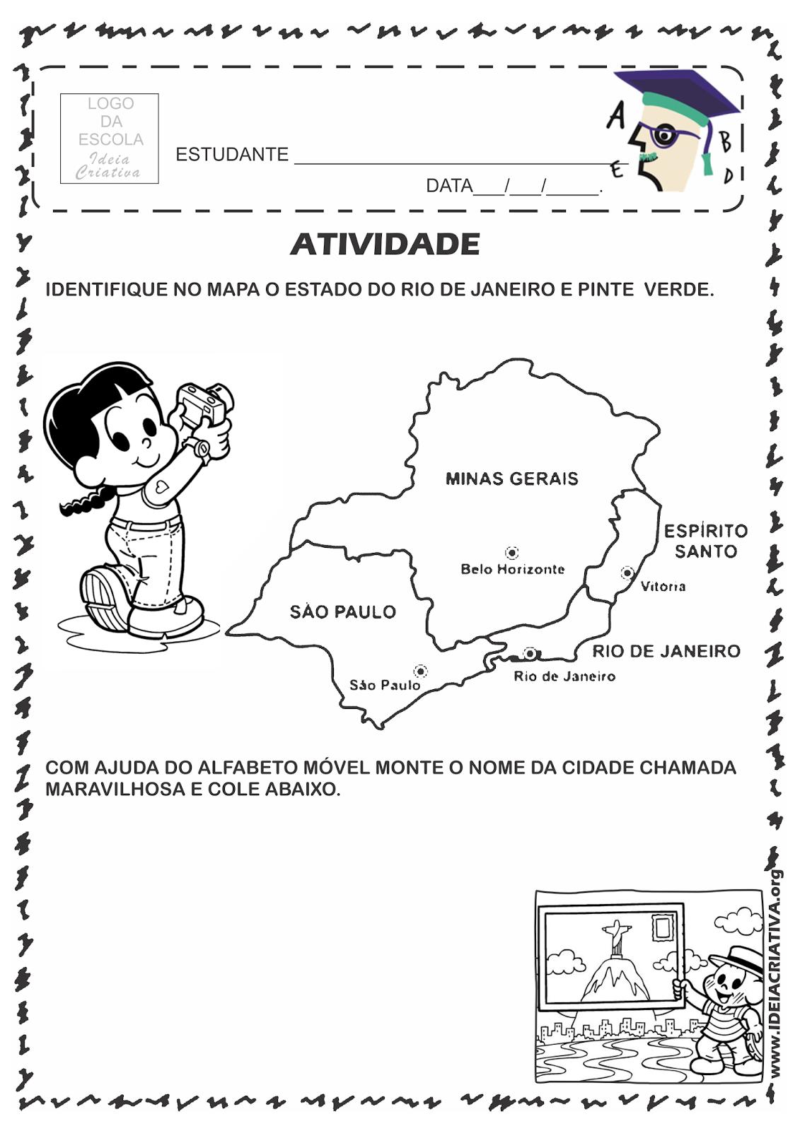 Atividade Rio 450 Anos Região Sudeste e Identificação do Estado do Rio de Janeiro no Mapa.