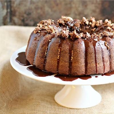 Chocolate Hazelnut Candy Bundt with Nutella Glaze