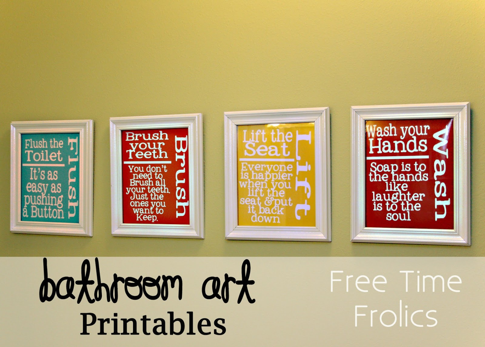 Playful image within free printable wall art for bathroom