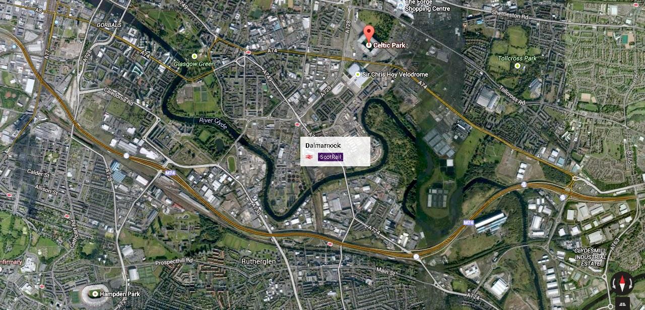 Celtic Park mappa Glasgow