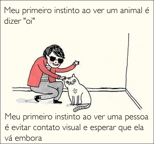 animais, pessoas, animais x pessoas, meu primeiro instinto, ao ver um animal, ao ver uma pessoa, evitar contato visual, dizer oi, tirinhas, eu adoro morar na internet