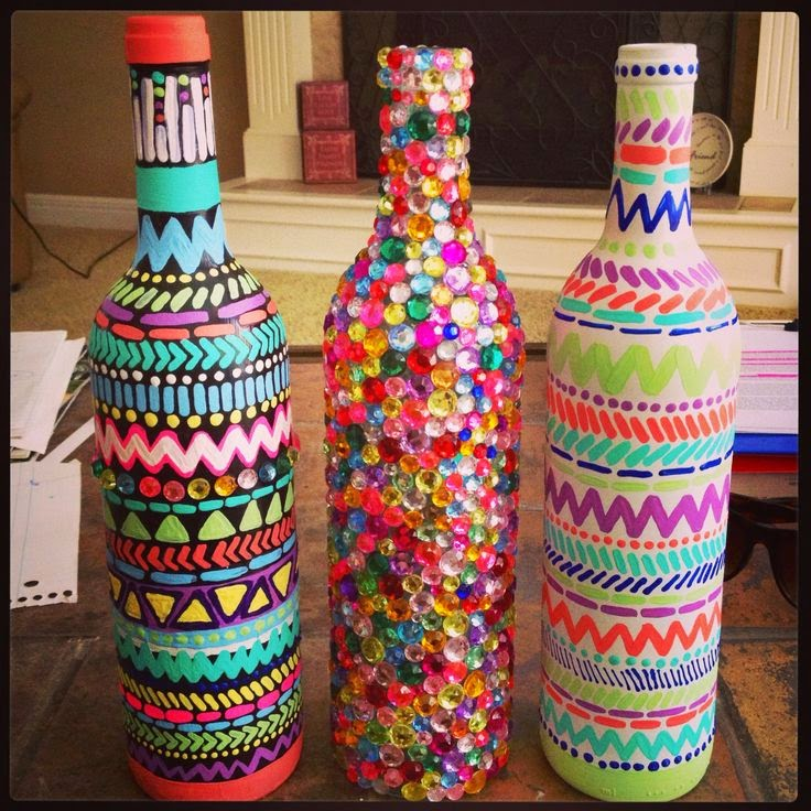 recycle craft decorative painted bottle ideas arts and