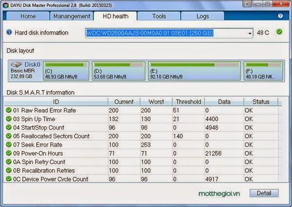 DAYU Disk Master Professional 2.8 - Hỗ trợ sao lưu, nhân bản phân vùng ổ cứng
