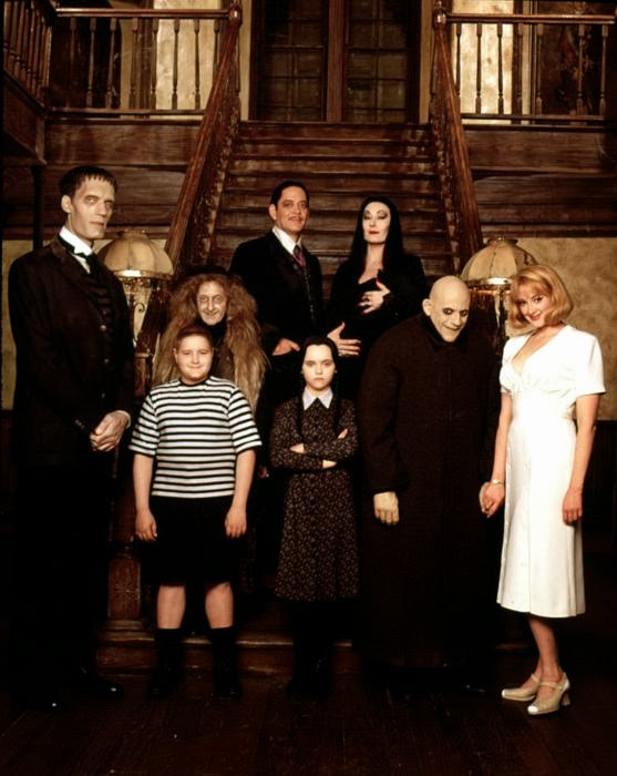 Addams Family Values, official movie, group shot, staircase, interior, Debbie, Wednesday Addams, Morticia
