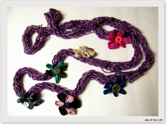 finger knit scarf fabric flowers embellishment