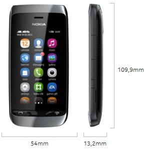 Dimensi Nokia Asha 310 Full Touch Dual SIM WiFi