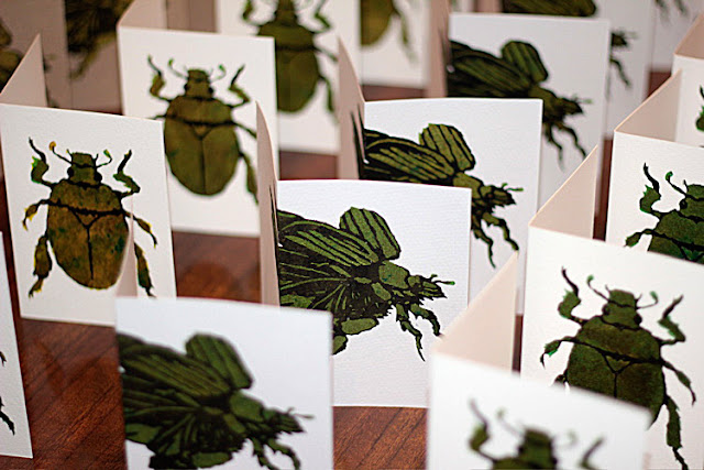 stencil printed christmas beetle cards