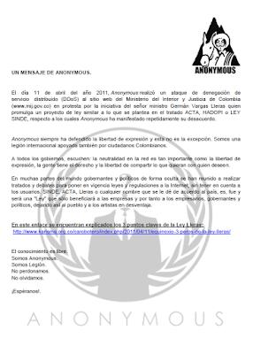 Seguridad en las tic ataque ddos de anonymous al sitio for Web ministerio interior