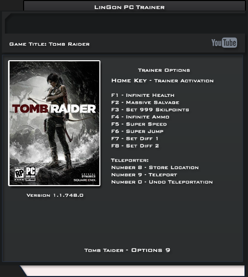 Tomb Raider 2013 v1.1.748.0 Trainer +9 [LinGon]