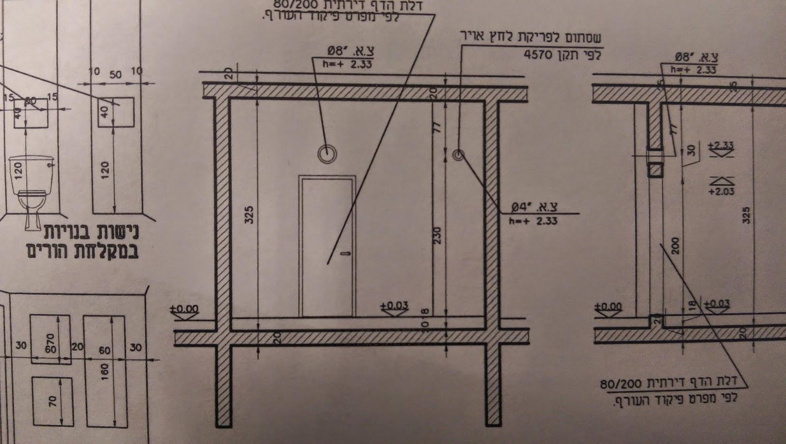 בניית בית פרטי - חתך צד ממד תוכנית אדריכלית