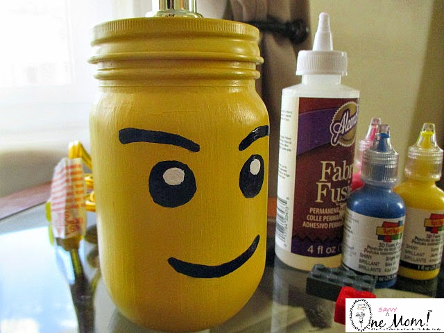 One savvy mom nyc area mom blog diy lego minifigure mason jar little lego bricks on the lampshade and you have a pretty neat diy lego lamp and lego brick lampshade total cost to make this just under 20 all in aloadofball Choice Image