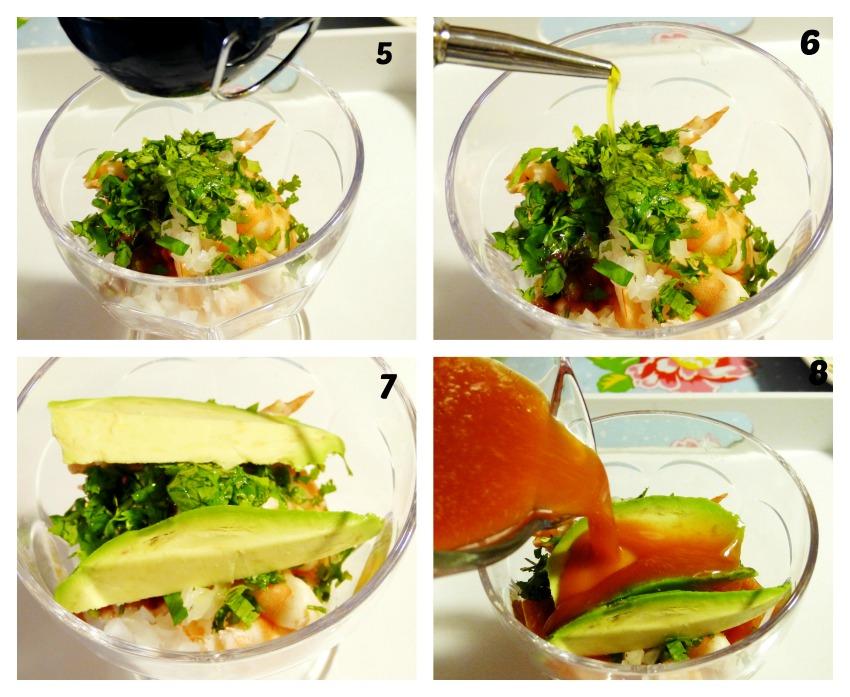 Preparación cóctel de camarón