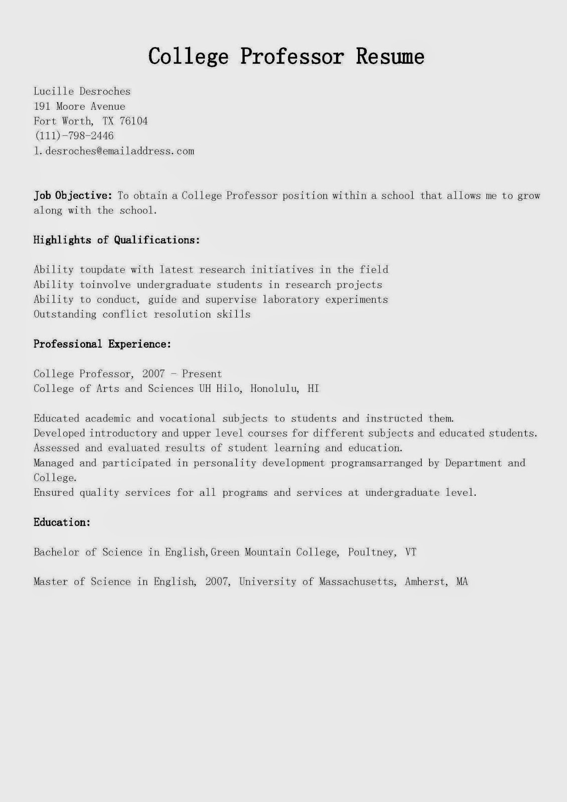 Resume samples college professor resume sample for Sample resume for experienced assistant professor in engineering college