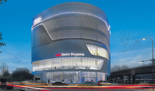 Rendering of Audi Centre in Singapore at dusk