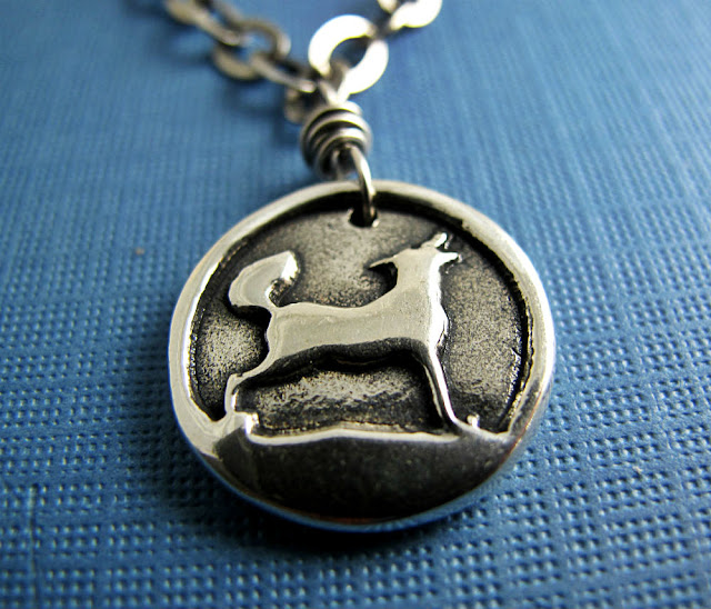 Sterling Silver Wolf Pendant Necklace by Beth Hemmila of Hint Jewelry