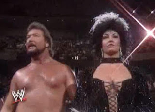 WWF ROYAL RUMBLE 1992 - Sensational Sherri leads Ted Dibiase to the ring for the Rumble match