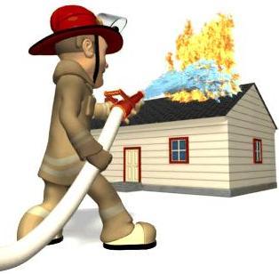 Dibujo de bombero apagando incendio