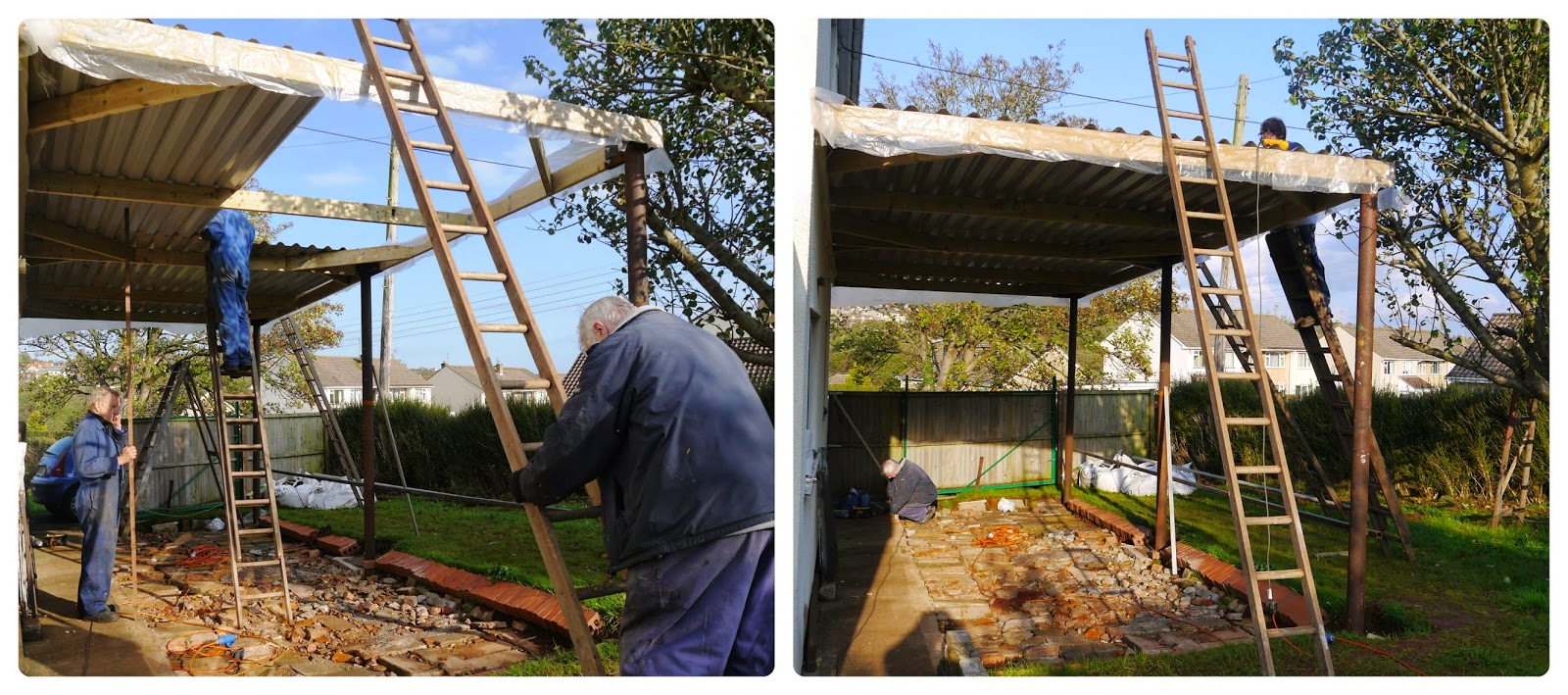 Putting the roof on the lorryport shed