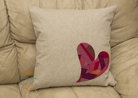 From the blue chair reverse applique heart pillow