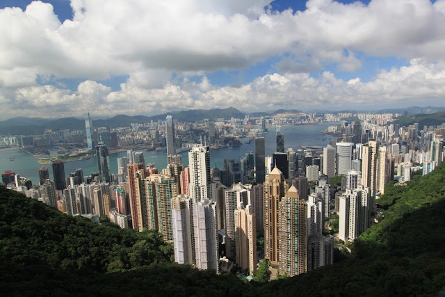 Beautiful multi million dollars skyline from the viewing platform of Sky Terrance 428 at The Peak Tram in Hong Kong