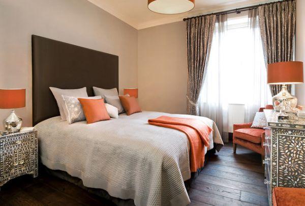 Dormitorio en naranja y gris dormitorios colores y estilos for Cortinas grises para dormitorio