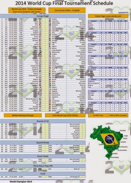 Download Jadwal Piala Dunia 2014 Brasil Excel Lengkap