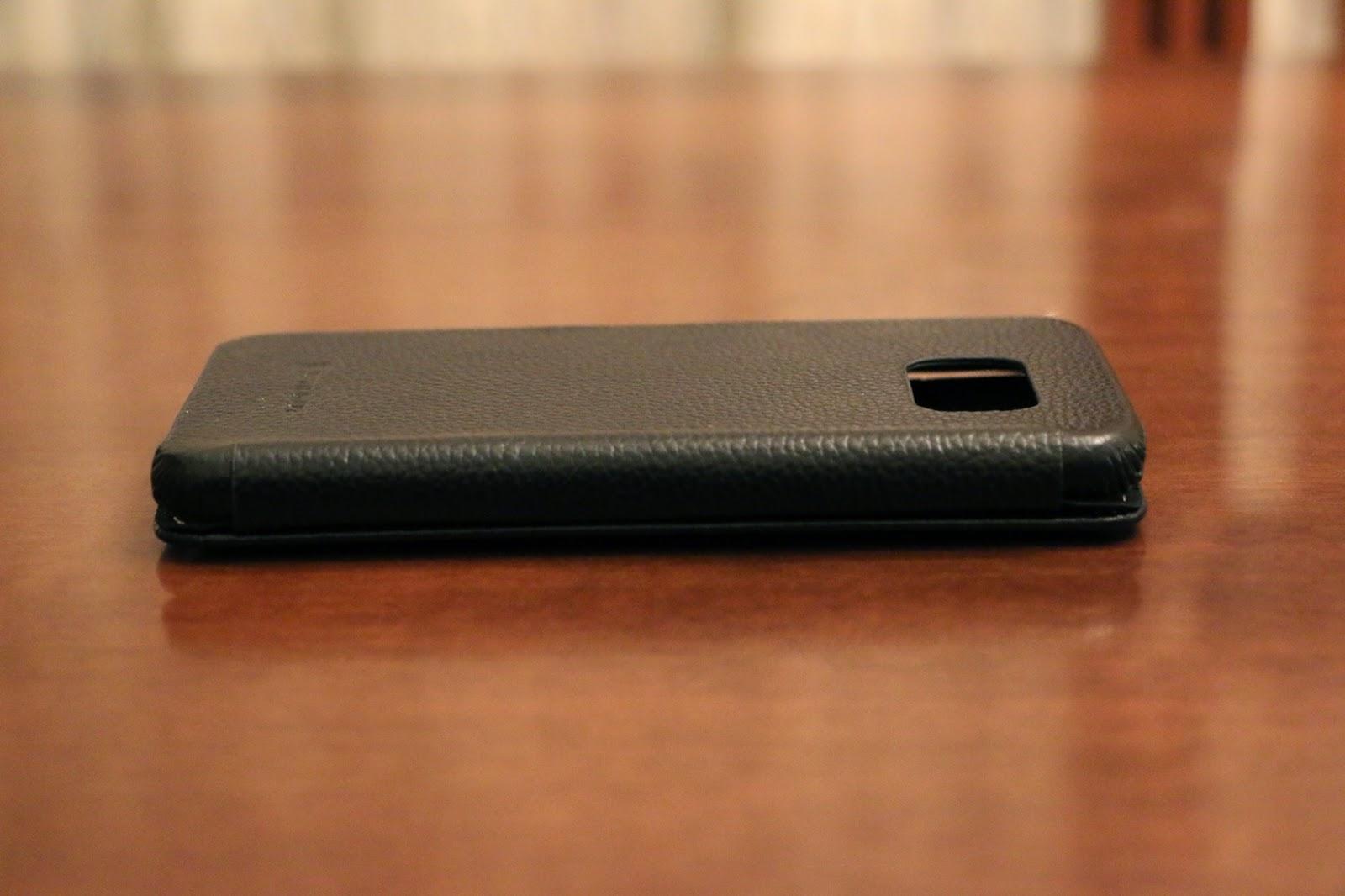 StilGut custodia Galaxy S6 modello Book Type nera vista laterale 3
