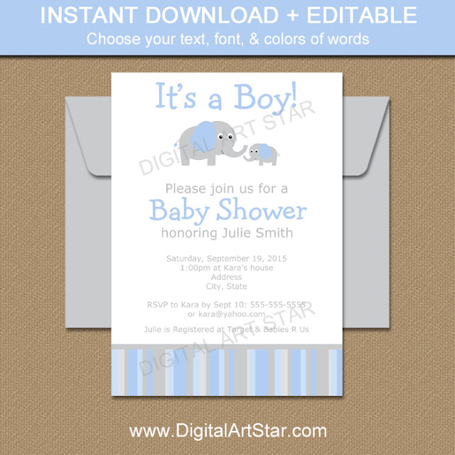 Printable Elephant Baby Shower Invitation with Editable Text for Boy Baby