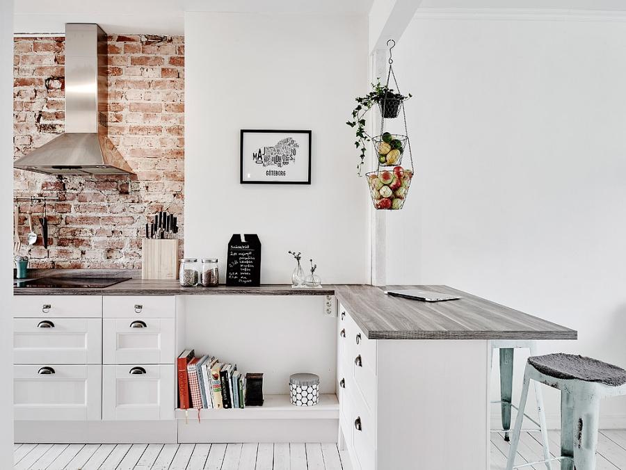 wystrój wnętrz, wnętrza, urządzanie mieszkania, dom, home decor, dekoracje, aranżacje, scandinavian style, vintage, scandi, kuchnia, kitchen, brick wall, ściana z cegły, białe wnętrza