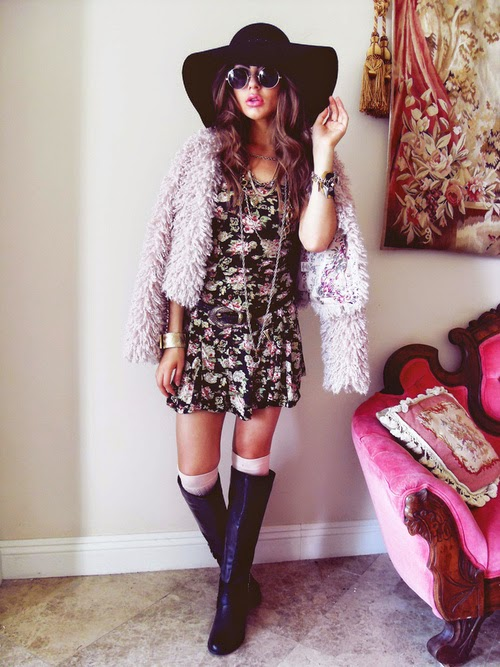 FLORAL DRESS FAUX FUR SHRUG CROPPED JACKET BOOTS FLOPPY HAT SUNGLASSES
