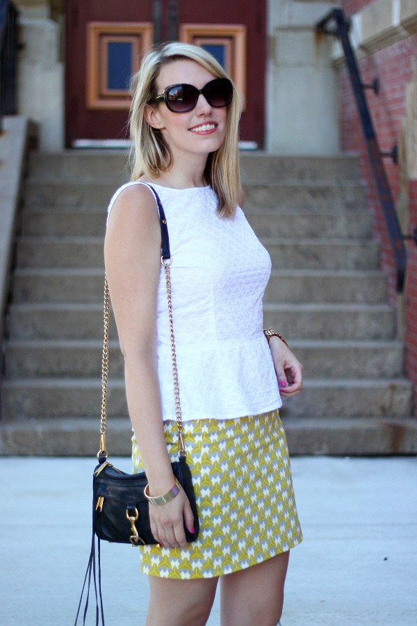 milly for banana republic, printed pencil skirt, banana republic pencil skirt, white peplum, canadian fashion blogger, rebecca minkoff mini mac