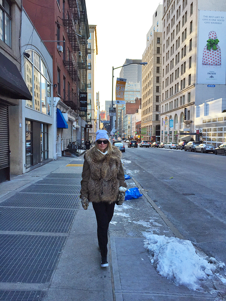 Fashion Over Reason fur vest, city streets, outerwear