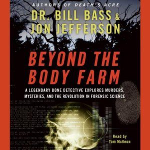 This book cover is spooky, with shadows of dark trees at night in the background and in the foreground an x-ray of a skull, a scan of a finger print, text scrolling on a computer screen, and a DNA printout. The title and author are in oversized, horror-movie style lettering.