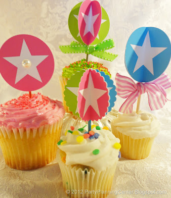 circles and stars birthday party picks