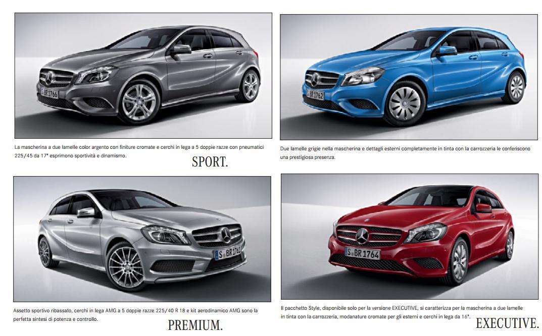 Mercedes classe a colori carrozzeria