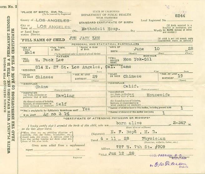 Jue joe clan history lee why pack san tongs paper identity here is my auntie joans bogus birth certificate yadclub Gallery