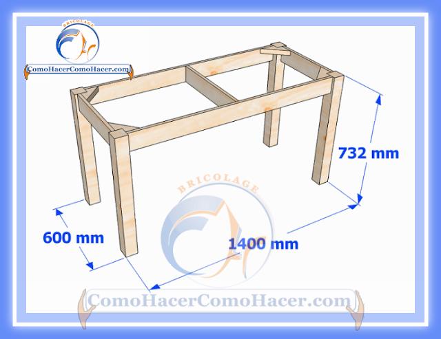 Plano de mesa de madera medidas web del bricolaje dise o diy for Hacer una mesa con una puerta