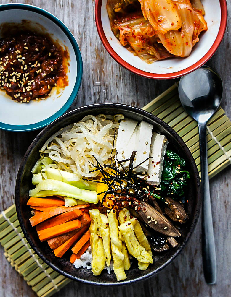 Vegetarian Mixed Rice Bowl- #Bibimbap #koreanfood #homemade #recipes