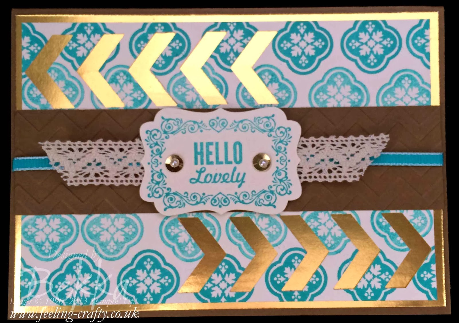 Hello Lovely Card with Tutorial showing How to line up your Stampin' Up! Clear Mount Stamps - check out this blog for lots of great tips