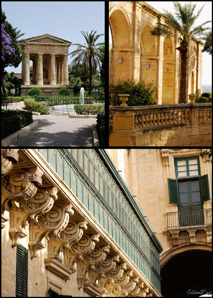 Postcard style view of Barracca Gardens in Valletta, Malta