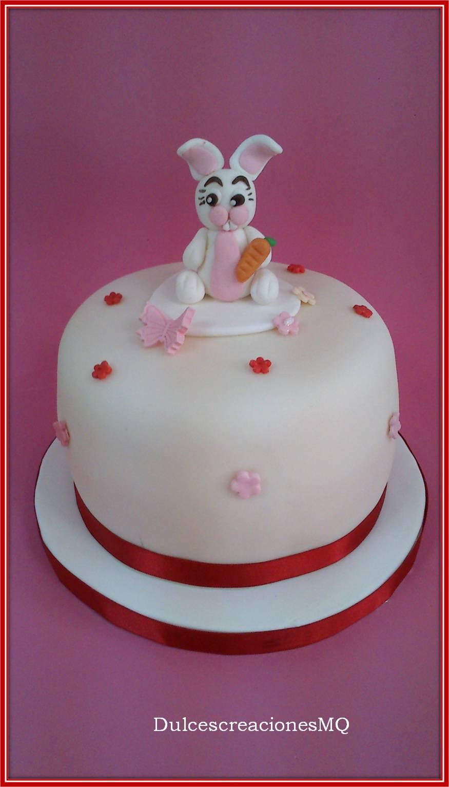 Pastel Pascua Conejito Conejo Fondant Tarta Mona Rosa Niña Cumpleaños Aniversario Dulce Bizcocho Victoria Sponge Cake Vainilla Esponjoso Dulce de Leche Merengue