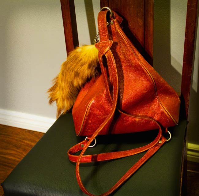 Fenneli Purse backpack style, Fenneli leather backpack, Faux Foxtail, Front and Company, Community Thrift and Vintage Find