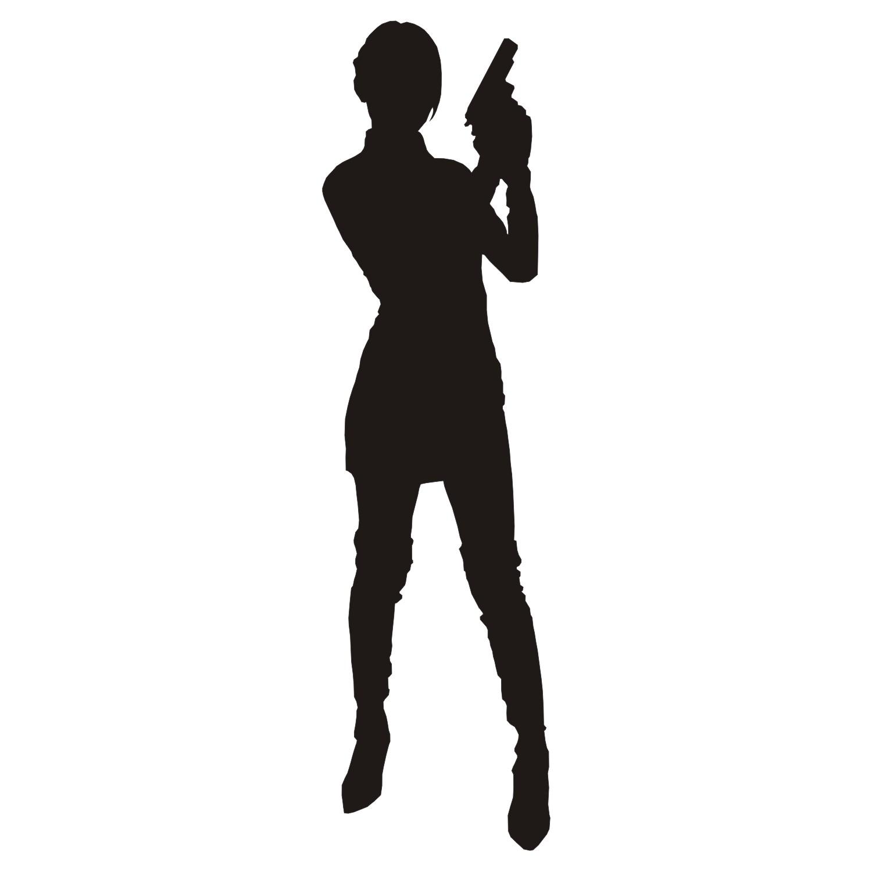 girl gun silhouette Фото база