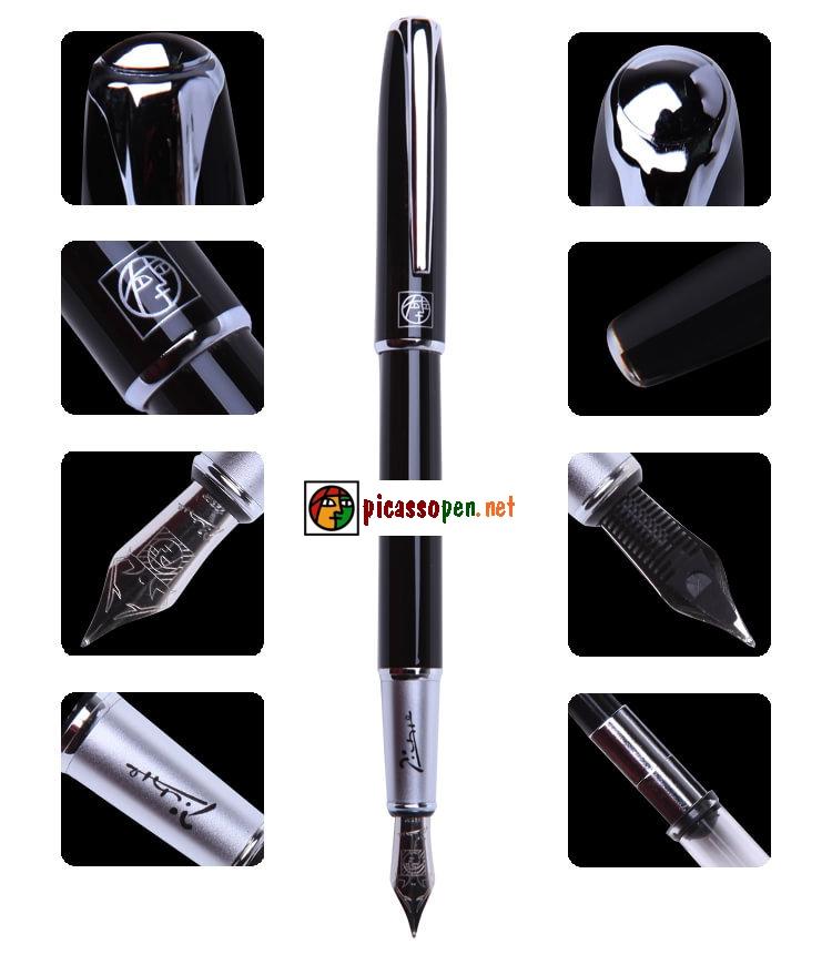 Chi tiết thiết kế bút máy cao cấp Picasso 916 màu đen