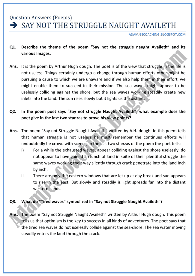 English XII - Say not the struggle Naught Availeth - Question Answers Poems