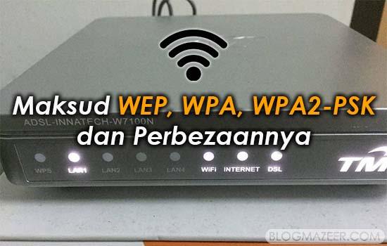 Maksud WEP, WPA, WPA2-PSK dan Perbezaannya